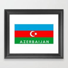 Azerbaijan country flag name text Framed Art Print