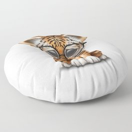 Cute Baby Tiger Cub Wearing Eye Glasses on White Floor Pillow
