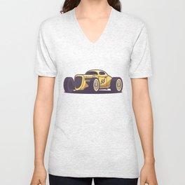 GAZ GL1 Custom Vintage Hot Rod Classic Street Racer Car - Yellow Unisex V-Neck