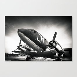 C-47D Skytrain Black and White Canvas Print