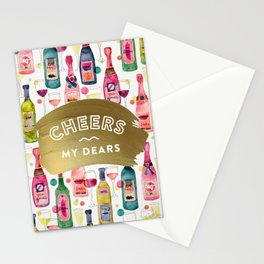 Cheers My Dears – Gold Stationery Cards