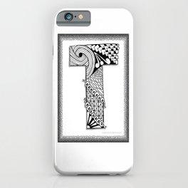 Zentangle T Monogram Alphabet Illustration iPhone Case