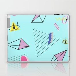 Funky Teal 80s eighties Memphis Space Pattern Design Laptop & iPad Skin