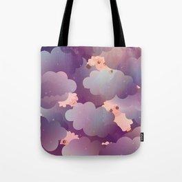 Heavenly Baby Sheep II - Wine Purple / Plum Color, Star Night Sky Background Tote Bag