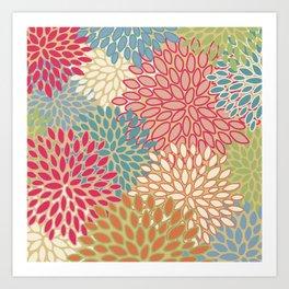 Flower Pattern, Raspberry Red, Lime Green,Teal, Orange Art Print
