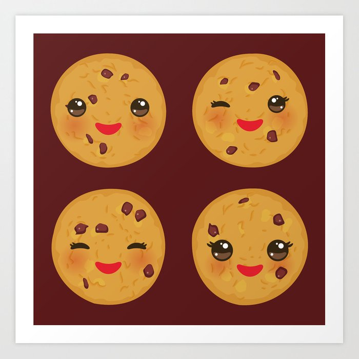 Kawaii Chocolate chip cookie Art Print