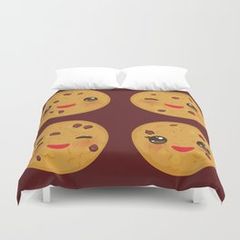 Kawaii Chocolate chip cookie Duvet Cover