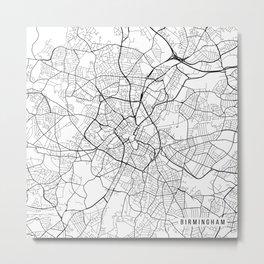 Birmingham Map, England - Black and White Metal Print