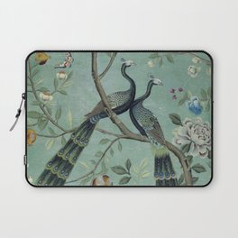 A Teal of Two Birds Chinoiserie Laptop Sleeve