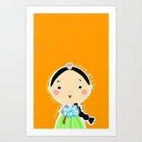 A Girl with Her Flowers-Hana Art Print