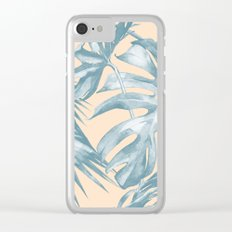 Tropical Leaves Ocean Blue on Citrus Clear iPhone Case