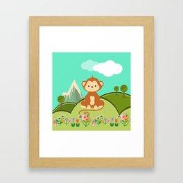 Monkey , nursery decor Framed Art Print