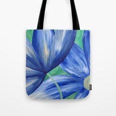 Large Blue Flowers Tote Bag