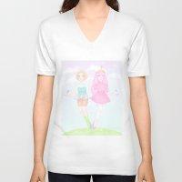 princess bubblegum V-neck T-shirts featuring Pearl & Princess Bubblegum by Siri's