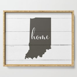 Indiana is Home - Charcoal on White Wood Serving Tray