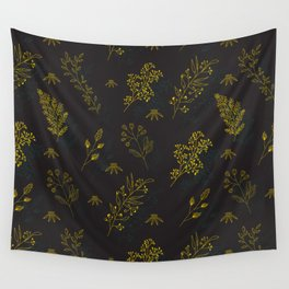 Thin delicate lines silhouettes of different plants. Wall Tapestry