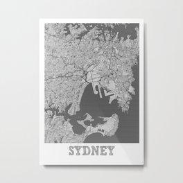 Sydney Pencil City Map Metal Print