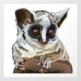 Cute Bushbaby - Baby Animal with Big Eyes White Background Art Print