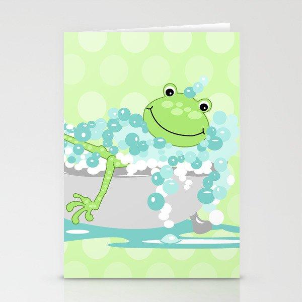 Frog in BathTub Kids Shower Bathroom Art Stationery Cards by ...