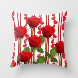 SCARLET ROSES & RED VALENTINE HEARTS  DESIGN Throw Pillow