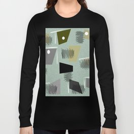 Mid-Century Modern Green Abstract Long Sleeve T-shirt