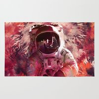 spaceman Area & Throw Rugs featuring Watercolor Spaceman by Mark Kriegh