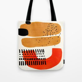 Mid Century Modern Abstract Minimalist Retro Vintage Style Fun Playful Ochre Yellow Ochre Orange  Tote Bag