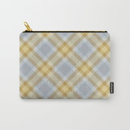 Yellow Gray Plaid Rug Carry-All Pouch