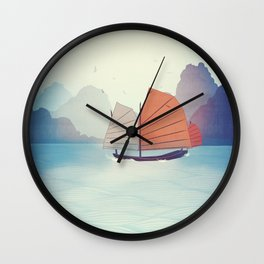 Chinese Boat on the water Wall Clock