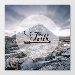 Have Faith Inspirational Typography Over Mountain Canvas Print