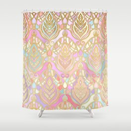 Rosy Opalescent Art Deco Pattern Shower Curtain
