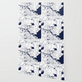 Amsterdam White on Navy Street Map Wallpaper