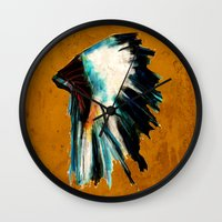 headdress Wall Clocks featuring Native Headdress by James Peart
