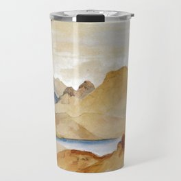 Cinnabar Mountain Yellowstone River Watercolour 1871 By Thomas Moran   Watercolor Reproduction Travel Mug