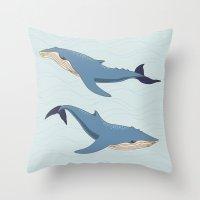 whales Throw Pillows featuring Whales by Evgeniya Ivanova