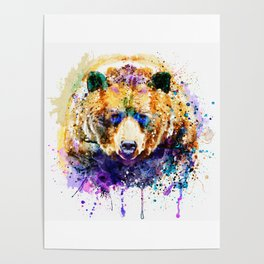 Colorful Grizzly Bear Poster