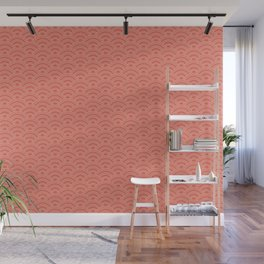 Pantone Living Coral Scallop Wave Pattern and Polka Dots Wall Mural