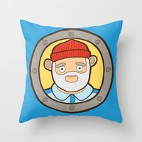 the life aquatic Throw Pillows featuring The Life Aquatic by evannave