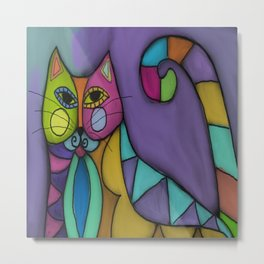 Cat of Many Colors Abstract Digital Painting  Metal Print