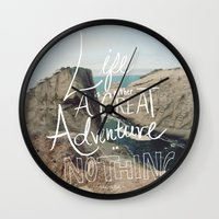 adventure Wall Clocks featuring Great Adventure by Leah Flores