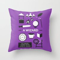 ouat Throw Pillows featuring OUAT - A Wizard by Redel Bautista