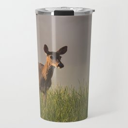 Pregnant Doe on a Foggy Spring Morning in Cades Cove Travel Mug