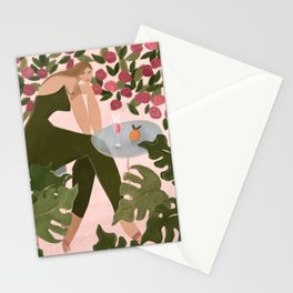 Brunch in the rose garden Stationery Cards