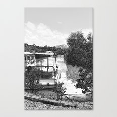 Boats and river in black and white Canvas Print