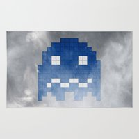 pac man Area & Throw Rugs featuring Pac-Man Blue Ghost by Psocy Shop