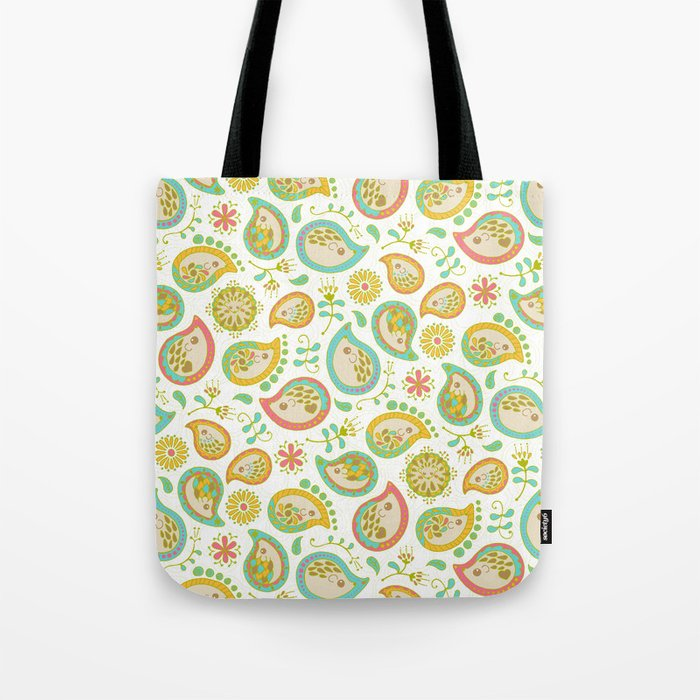 Hedgehog Paisley_Green outline Tote Bag