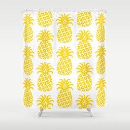 Retro Mid Century Modern Pineapple Pattern Yellow Shower Curtain
