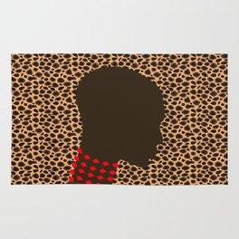 Bald head woman with pink beads zolliophone shop Rug