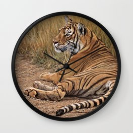 Ranthamboure Roadblock Tiger by Alan M Hunt Wall Clock