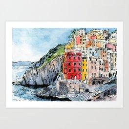 Cinque Terre Watercolor Art Print